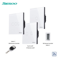 SESOO Remote Control Switch EU Type 2 Gang 1 Way Wall Light Touch Screen Crystal Glass