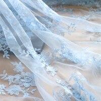 Rosa azul púrpura natural exquisito bordado material de hilo de red de tela de encaje DIY vestido de novia de falda ropa excipientes