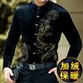 Estilo chinês padrão animal do impressão moda casual longa-camisa de manga comprida 2016 Outono & Inverno de ouro de veludo high-end camisa dos homens M-XXXL