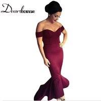 Dear lover Maroon /Navy Off shoulder Elegant Mermaid Dress Summer Autumn 2017 Women Formal Dresses For Special occassion LC60171