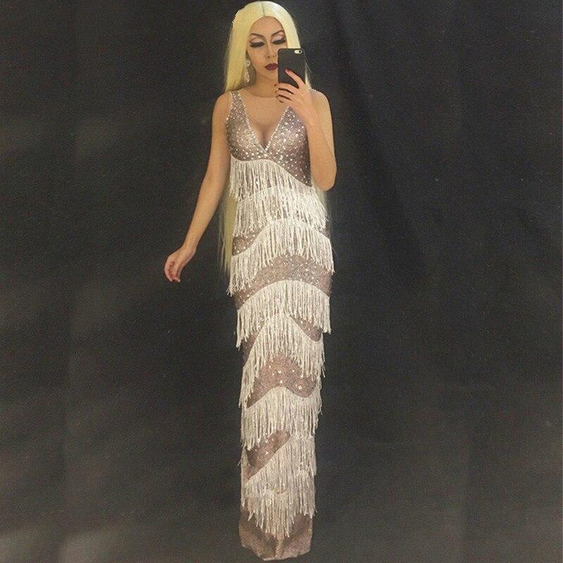 Tassel Women Long Rhinestone Dress Sparkling Crystal Costume Nightclub Party Singer Dancer Performance Stage Wear Clothing