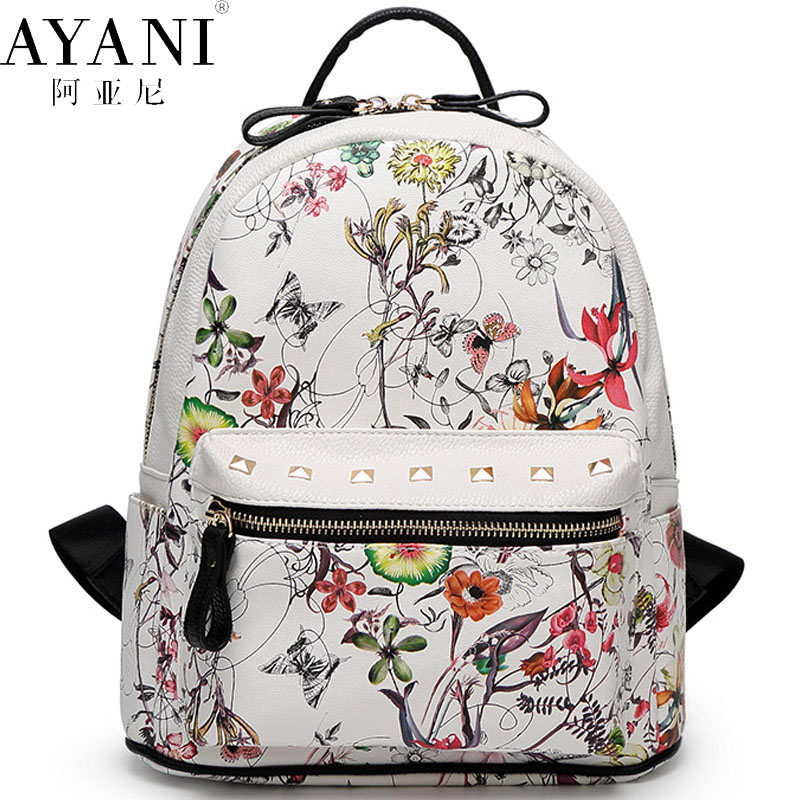 60e32cf39e8 AYANI Brand 100% New Top leather Korean Japan cute floral backpacks for  lady fashion printing backpack air belt softback FS2205-in Backpacks from  Luggage ...