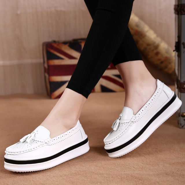 4241eedcf60 YZHYXS spring women platform oxfords shoes brogue slip on genuine leather  shoes ladies thick soled shoes for women flats