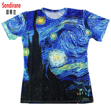 Sondirane New Fashion Brand T Shirt 3D Print Classic Oil Vincent Van Gogh Starry Night Vintage T Shirt Summer Casual Tees Tops