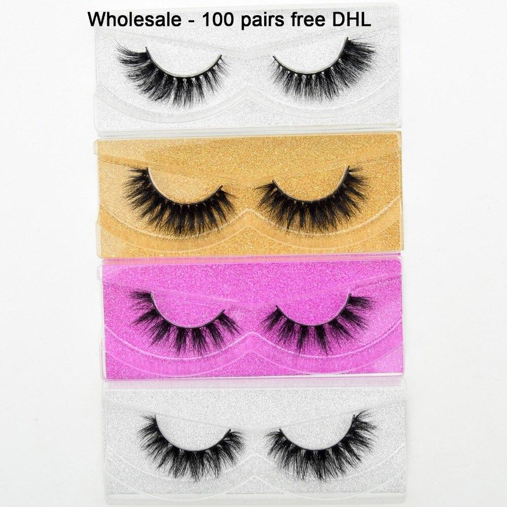 Free DHL 100 Pairs Wholesale 3D Real Mink Eyelashes High Quality Handmade False Eyelashes Extension 68