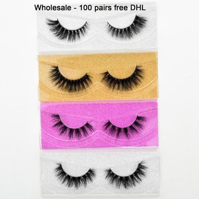 Free DHL 100 Pairs Wholesale 3D Real Mink Eyelashes High Quality Handmade False Eyelashes Extension 68 Styles Mink eyelashes