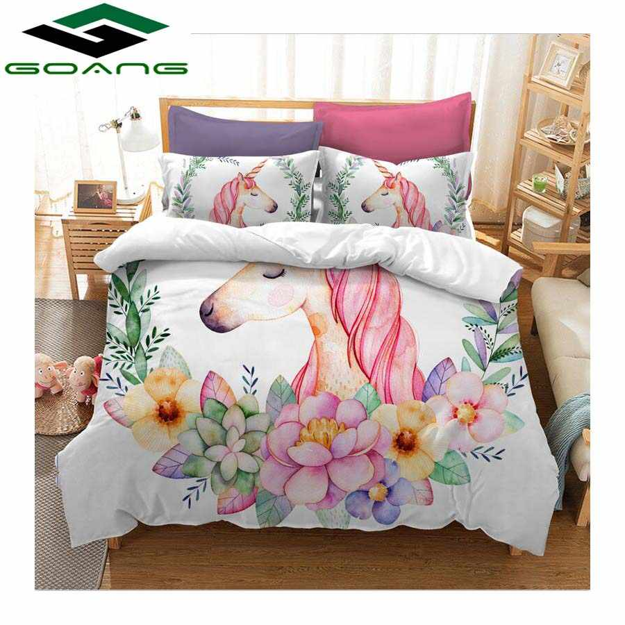GOANG bedding set duvet cover bed sheet pillow 100% Microfiber Cartoon unicorns bedding set king size 3d digital printing