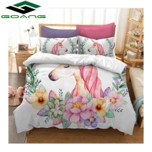 GOANG bedding set duvet cover bed sheet pillow 100% Microfiber Cartoon unicorns king size 3d digital printing