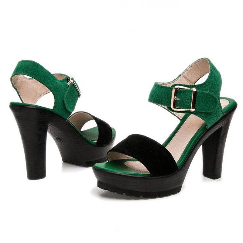 Femmes Yaerni En Confortable Sandales Cuir Chaussures Creux Imperméables Nubuck Noir Mode Nouveau De Véritable Noir vert Haute D'été Talon E599 4gIr4F0