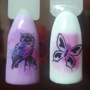 Image 3 - 12 tasarım takılar Sticker çift/akçaağaç çiçek baykuş takı kaymak Nail Art su transferi çıkartmaları çivi sarar manikür ipuçları BN