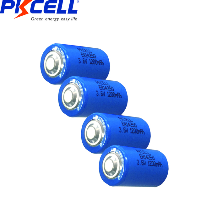 10PCS PKCELL 1/2 AA er 14250 battery 3.6v 1200MAH lithium batteries replace for LS14250 LS 14250 primary battery for camera  3