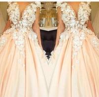 2017 Великолепная длинное вечернее платье Саудовская Аравия платье розовый органзы аппликации платье для выпускного вечера Винтаж платье но