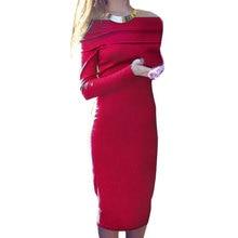 Сексуальная с плеча Bodycon платье Новый Для женщин осень Повседневное вязаное платье с длинным рукавом Slash Средства ухода за кожей шеи тонкий макси зимние платья спецодежды