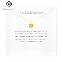 Sparkling Mind body and spirit om symbol Pendant necklace Clavicle Chains Statement Necklace Women FOMALHAUT Jewelry