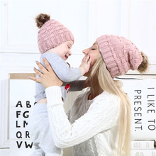 Winter Warm Hat Hot Sale Family Mother Daughter Hats Cute Infant Baby Boy Girl Knitted Hat Caps Mom Baby Hats Newborn Cap Beanie(China)