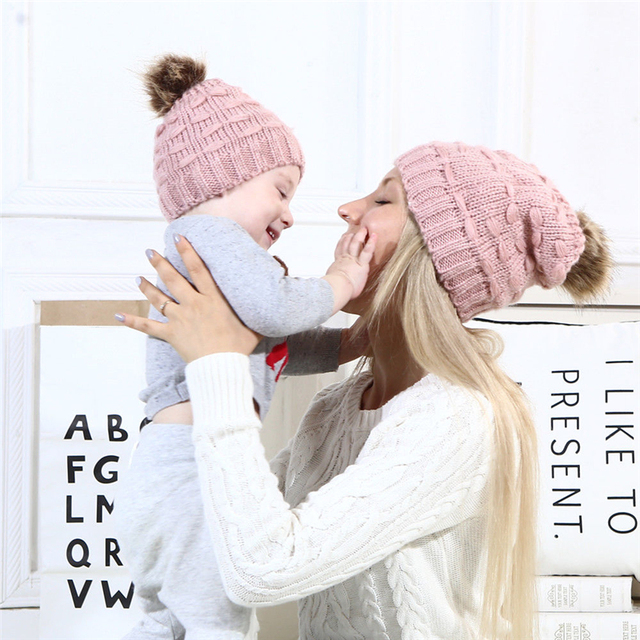 Winter Warm Hat Hot Sale Family Mother Daughter Hats Cute Infant Baby Boy  Girl Knitted Hat cb2169f9ae4