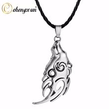 CHENGXUN Nevada Wolf Tribal Men Pendant on Slider Cord Necklace For Spiritual Jewelry Choker(China)