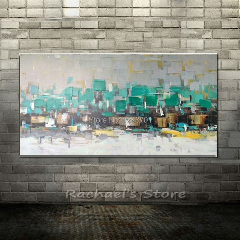 100 Hand Painted New Large Abstract Oil Paintings On Canvas Turquoise Blue Wall Art Pictures Living Room Home Decor