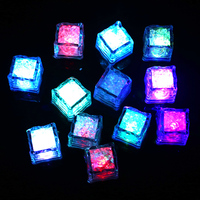 12Pcs Water Sensor Sparkling LED Ice Cubes Luminous Multi Color Glowing Drinkable Decor For Event Party
