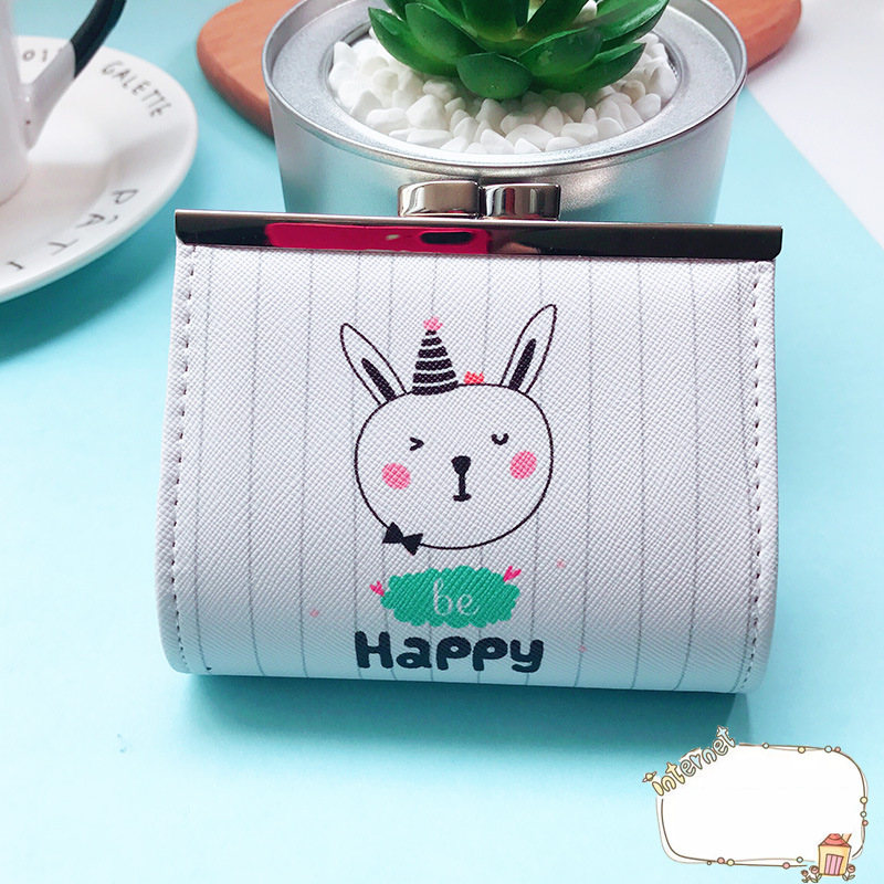 PACGOTH Lock Catch Opener Kawaii Girls Purse PVC Coin Purses Casual Creative Animal Prints Cute Cat Bear Rabbit Money bag 1 PC