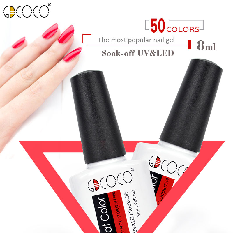 GDCOCO 50Colors 8ml Gel Varnish UV LED Soak Off pure Gel Polish nail glitter pearl color Lacquer long lasting bright CANNI gel