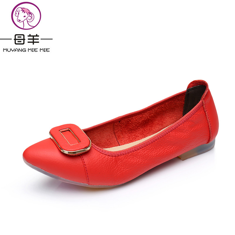 MUYANG MIE MIE Women Flats Fashion Genuine Leather Flat Shoes Woman Pointed Toe Soft Shoes Soft Outsole Casual Women Shoes muyang mie mie genuine leather women shoes woman casual flower single flat shoes soft comfortable women flats