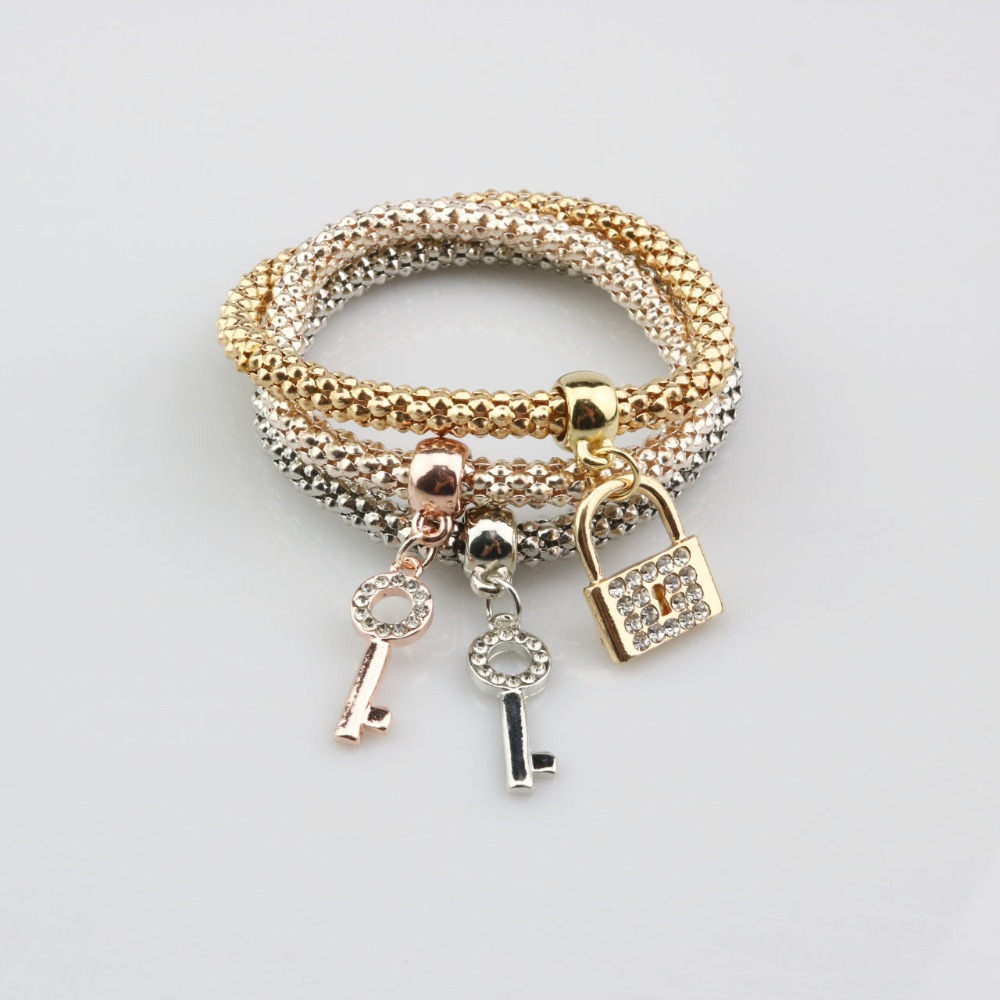 Fashion Charm Bracelet Plated Rhinestone Crystal Multilayer Bangles Key Lock Bracelets For Women Jewelry Hot