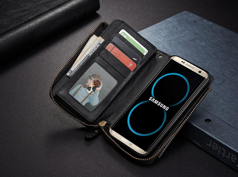 Men/Women PU Leather Phone wallet bag case For samsung s8 plus s6 s7 edge s5 note5 cards hold wallet S8PLUS case zipper hand bag