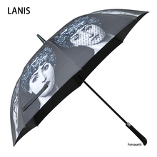 Fonaseti longo lidar com guarda chuva masculino presente claro guarda chuva de golfe guarda sol chuva feminino betty boop decoração guarda chuva
