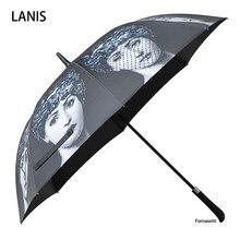 Fonaseti 긴 손잡이 우산 남자 선물 지우기 골프 우산 파라솔 비 우산 여성 여성 베티 장식 장식 우산