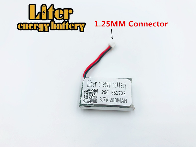 <font><b>3.7V</b></font> <font><b>200mAh</b></font> 651723 <font><b>Lipo</b></font> <font><b>battery</b></font> For Syma S107 S107G 1S Li-Po <font><b>Battery</b></font> Helicopter Part For 3D glasses Smart watch Sports bracelet image