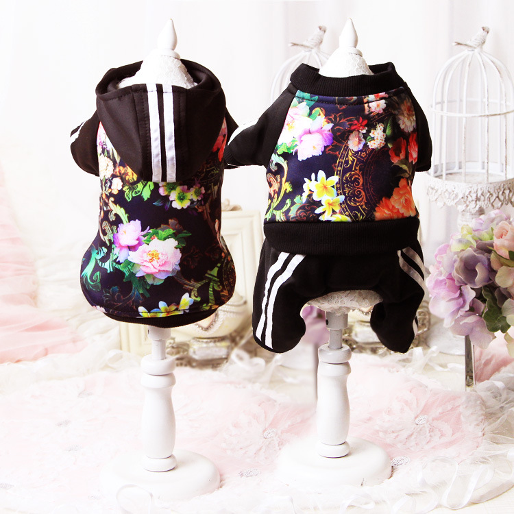 Cute floral dog puppy jumpsuit hoodie clothing winter warm fleece small dog pet cat Coat jacket chihuahua dog lover clothes