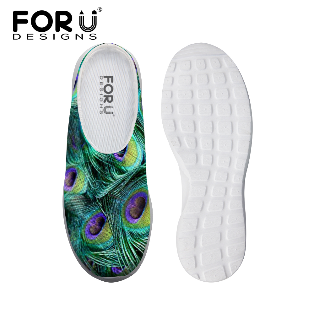 Mens Peacock Feathers Pattern Flip Flop for Mens Print Shock Absorption Shoes