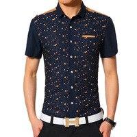 Plus Size Casual Men Shirt New 2016 Summer Cotton Mens Dress Shirt Slim thin Turn Down Collar printed Shirt short sleeve Camisas