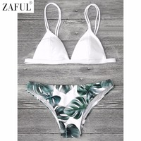 ZAFUL Sexy Brazilian Bikini Set Swimwear Women Swimsuit Bathing Suit Cami Palm Leaf Print Biquini Swim