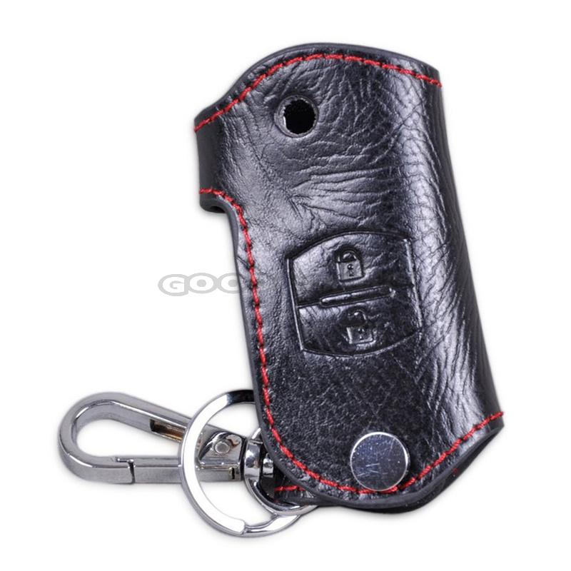 In Stock New 2 Buttons PU Leather Remote Key Chain Holder Case Cover Fob For font
