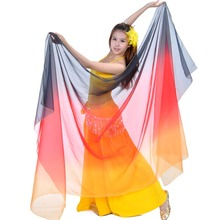 Top Gradient Color Belly Dance Veil 250 * 120cm Hand Throw Scarf Sjal Belly Dancer Accessory Adult 18 Colors Bellydance Veil Silk