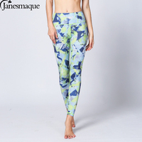Janesmaque Vert Imprimé floral Femmes De Yoga Pansts Gym Sport Leggings Sport Fitness Pantalon Stretch Collants Femmes Fitness Porter