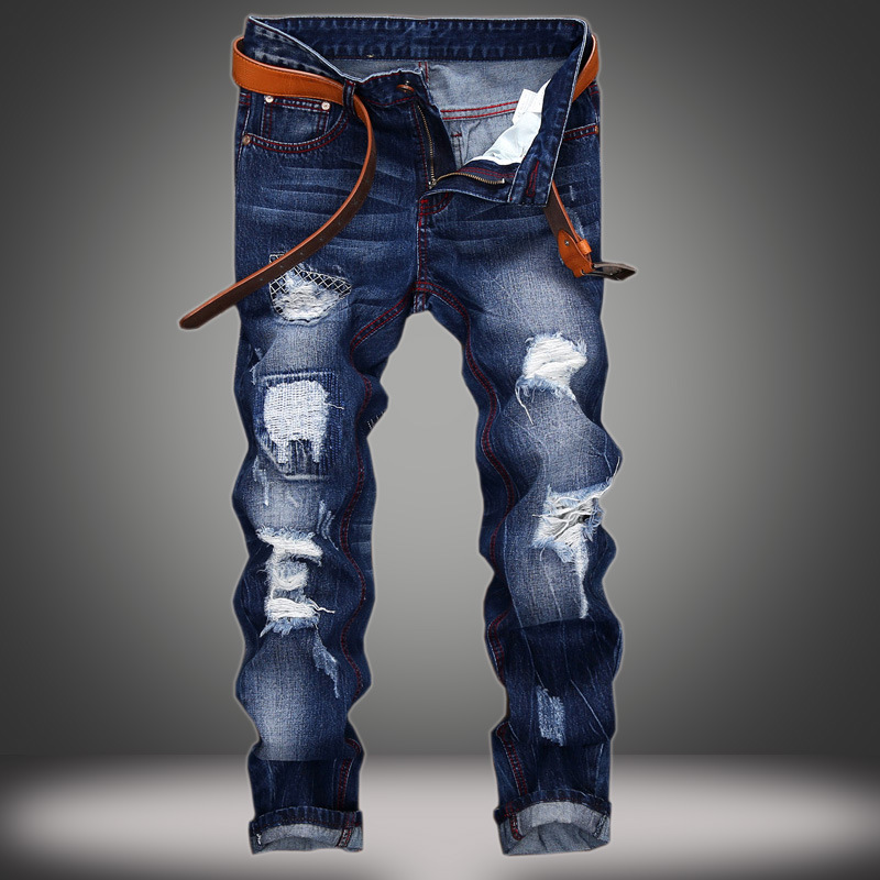 2018 Men straight denim trousers Hole patch Slim blue denim pants jeans trousers
