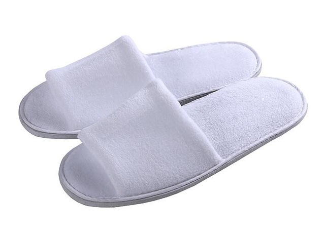 1 Pair Top Quality White Towelling Hotel Cotton Disposable Toe Slippers Terry SPA Guest Party Decoration Shoes Free Shipping