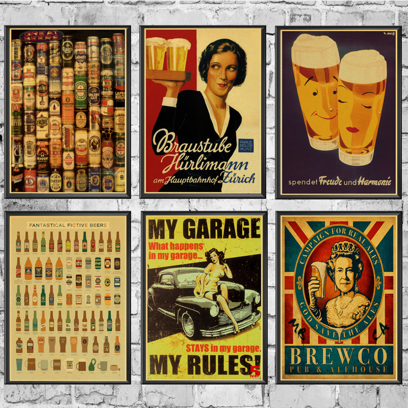 Coffee Beer Wine Collection Bars Decor Vintage Poster Retro Kraft Paper Vintage Poster Home Room Decor Wall Sticker Painting