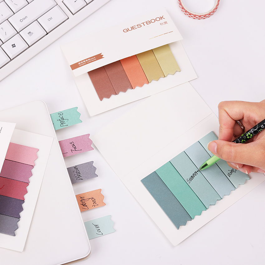 1PC Brief Faded Color 4 Seasons Self-Adhesive Memo Pad Sticky Notes Bookmark Sticker Paper Guestbook