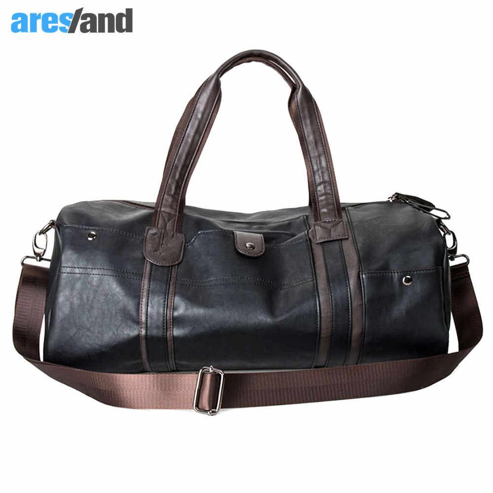 654b01a1df28 Мужская большая емкость из искусственной кожи спортивная сумка для  тренажерного зала спортивная спортивные сумки Duffel Tote