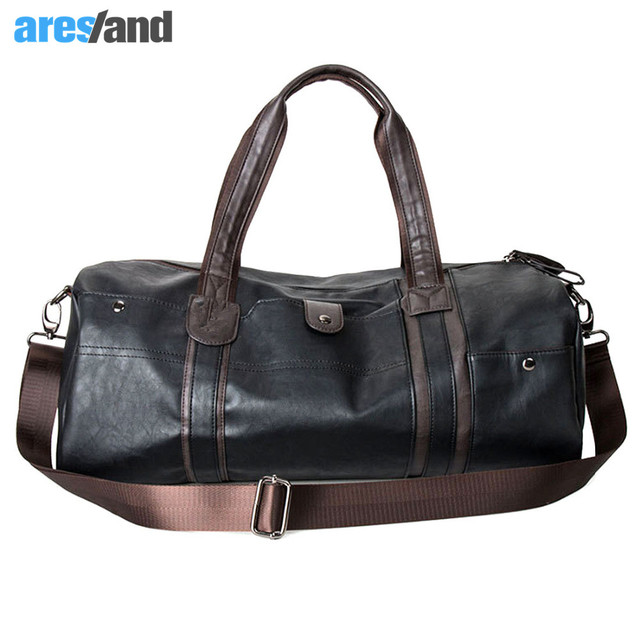 36defaebdc Men s Large Capacity PU Leather Sports Bag Gym Bag Fitness Sport Bags Duffel  Tote Travel Shoulder Handbag Male Bag Black Brown