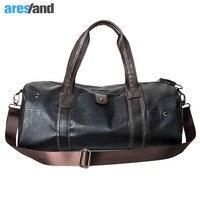 Men's Large Capacity PU Leather Sports Bag Gym Bag Fitness Sport Bags Duffel Tote Travel Shoulder Handbag Male Bag Black Brown