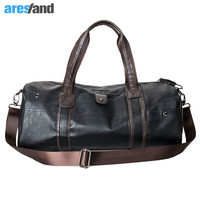 Men's Large Capacity PU Leather Sports Bag Gym Bag Fitness Sport Bags Duffel Tote Travel Shoulder Handbag Male Bag Black Brown