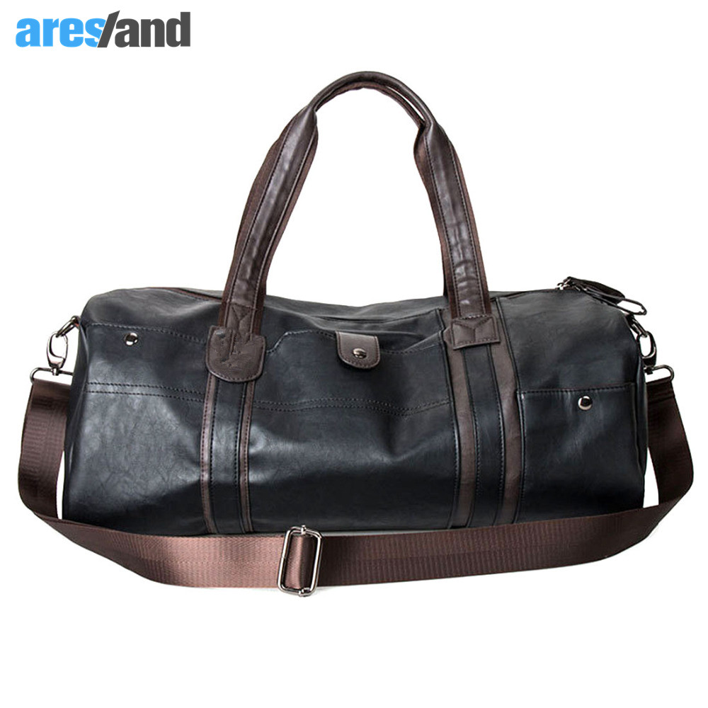 Men s Large Capacity PU Leather Sports Bag Gym Bag Fitness Sport Bags Duffel  Tote Travel Shoulder 33232557b51a1