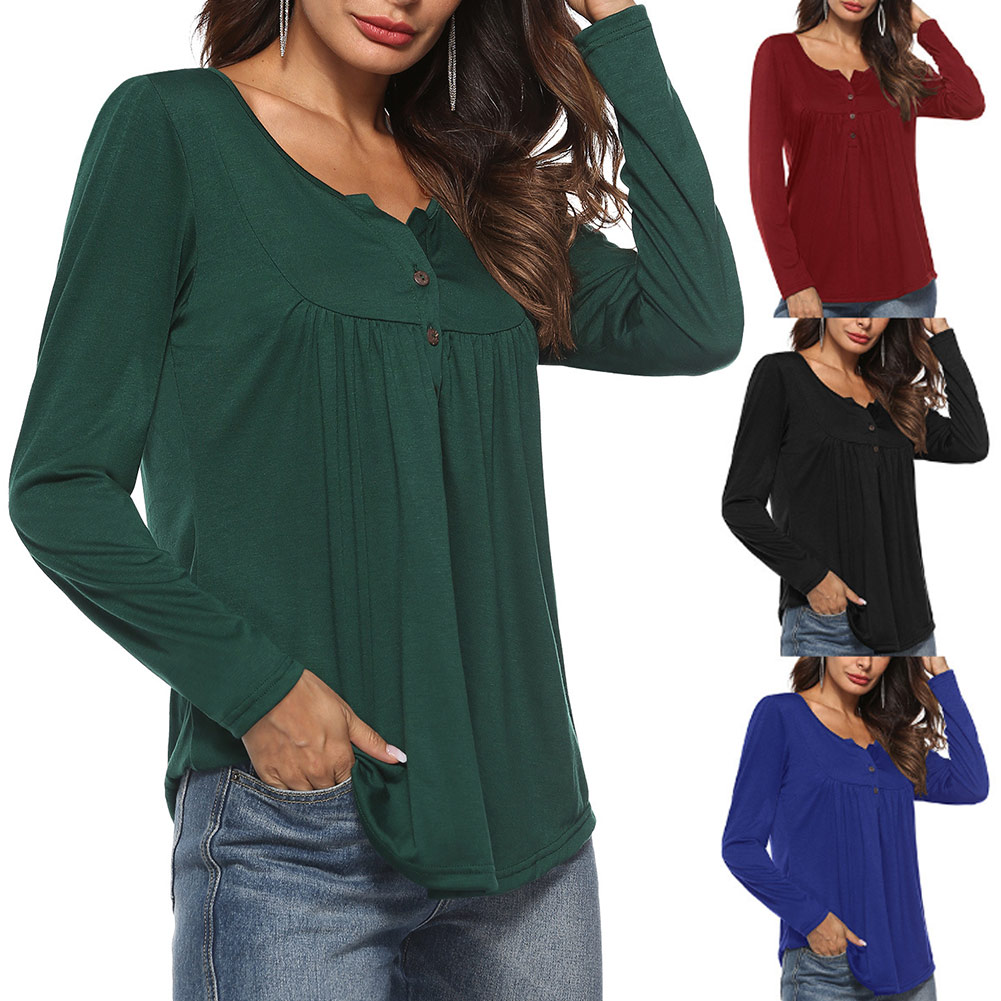 Summer Autumn Women Shirt Long Sleeve Pleated Tops Solid Color Loose Casual T-shirt FS99