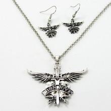 America Bon Jovi rock band necklaces pendants for men women alloy long chain pendant necklace best friend gift