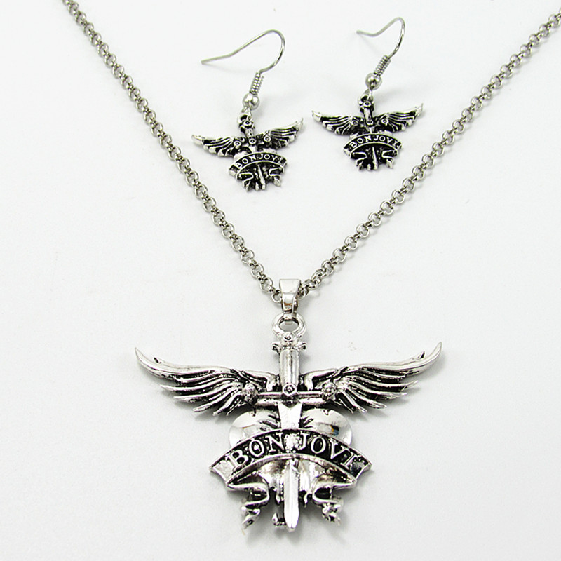 Американдық Bon Jovi рок-тобы ерлер әйелдер үшін ұзындық тізбекті ожерелье ожерелье жақсы дос сыйлық